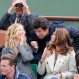 Patrick Bruel, Sandrine Kiberlain, Laurence, compagne de Manu Katché lors de la finale entre Rafael Nadal et Novak Djokovic à Roland-Garros le 10 juin 2012