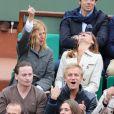 Patrick Bruel, Sandrine Kiberlain, Benoit Magimel et Jérémie Renier lors de la finale entre Rafael Nadal et Novak Djokovic à Roland-Garros le 10 juin 2012