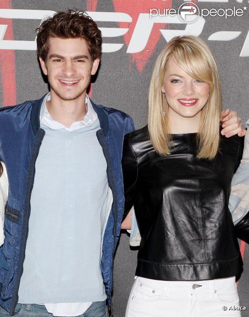 Andrew Garfiel et Emma Stone lors du photocall de  The Amazing Spider-Man  à New York, le 9 juin 2012.