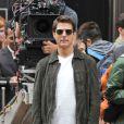 Tom Cruise sur le tournage du film de science-fiction  Oblivion , en bas de l'Empire State Building à New York, le 12 juin 2012.