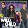 Couverture d'Entertainment Weekly avec Robert Pattinson, Kristen Stewart, Mackenzie Foy et Taylor Lautner pour Twilight - chapitre V : Révélation (partie II)