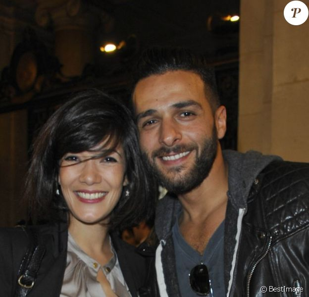 Mélanie Doutey et Maxim Nucci à l'inauguration de l'exposition Juste Humain, à la galerie Saint Germain de l'université Paris Descartes, le 18 juin 2012.