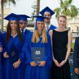 Charlene de Monaco, très élégante, assiste à la cérémonie de remise de diplômes de l'International School of Monaco, à l'hôtel de Paris à Monaco le 19 juin 2012