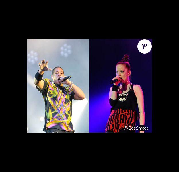JoeyStarr et Shirley Manson du groupe Garbage sur la scène de Solidays, à PAris, le 24 juin 2012.
