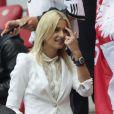 Lena Gercke durant la demi-finale de l'Euro 2012 perdue par l'Allemagne face à l'Italie, le 28 juin 2012 à Varsovie, en Pologne