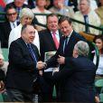 Le Premier ministre écossais Alex Salmond et le Premier ministre britannique David Cameron à Wimbledon le 8 juillet 2012 pour la finale opposant Andy Murray à Roger Federer.