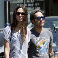 Pete Wentz et sa compagne Meagan Camper heureux de se promener avec le petit Bronx à Los Angeles le 17 juillet 2012
