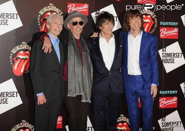 Les Rolling Stones à l'inauguration de leur exposition à la Somerset House, Londres, le 12 juillet 2012.