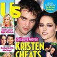 Kristen Stewart et Robert Pattinson en couverture de US Weekly, qui révèle, photo à l'appui en médaillon, la liaison de la comédienne américaine avec le réalisateur Rupert Sanders.