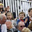 La princesse Isabella et le prince Christian de Danemark, de vrais supporters avec leurs parents la princesse Mary et le prince Frederik, à Greenwich Park le 7 août 2012 pour encourager la princesse Nathalie de Sayn-Wittgenstein-Berleburg, en compétition avec Digby dans le concours de dressage individuel et par équipes des Jeux olympiques.