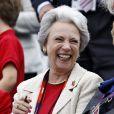 La princesse Benedikte de Danemark à Greenwich Park le 7 août 2012 pour encourager sa fille la princesse Nathalie de Sayn-Wittgenstein-Berleburg, en compétition avec Digby dans le concours de dressage individuel et par équipes des Jeux olympiques.