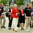 La reine Margrethe II de Danemark en visite au village olympique à Londres le 8 août 2012.