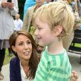 La princesse Marie en visite à Helsingor le 8 août 2012 lors des vacances de l'Association danoise de l'autisme, dont elle est la marraine.