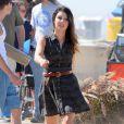 Shenae Grimes sur le tournage de la série 90210 sur la plage d'Huntington Beach à Los Angeles
