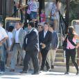 En famille, Arnold Schwarzenegger, son fils Patrick et sa fille Katherine ont déjeuné au Jules Verne à Paris le 10 août 2012