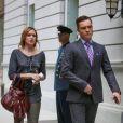 Kaylee DeFer (Ivy Dickens) et Ed Westwick (Chuck Bass) sur le tournage de Gossip Girl. New York, 17 août 2012.