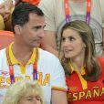 Letizia et Felipe d'Espagne le 11 août 2012 aux Jeux olympiques de Londres.