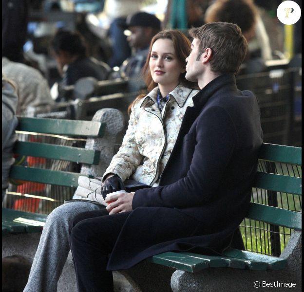 Leighton Meester et Chace Crawford sur le tournage de la dernière saison de Gossip Girl, le 24 septembre à New York