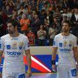 Nikola et Luka Karabatic lors du match de handball entre le PSG et Montpellier le 30 septembre 2012 à Paris