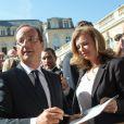 Valérie Trierweiler et François Hollande à l'Elysée pour les Journées du patrimoine, le 16 septembre 2012.