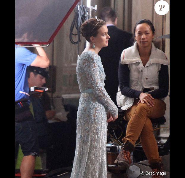 Leighton Meester sur le tournage de Gossip Girl à New York, le 15 octobre 2012