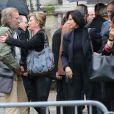 Jeane Manson, Denise Fabre, Julie Piétri, aux obsèques de Frank Alamo en l'église de Saint-Germain-des-Prés à Paris, le 18 octobre 2012.