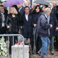 Michèle Torr, Fabien Lecoeuvre, Denise Fabre, aux obsèques de Frank Alamo en l'église de Saint-Germain-des-Prés à Paris, le 18 octobre 2012.