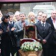 Fabien Lecoeuvre, Denise Fabre, aux obsèques de Frank Alamo en l'église de Saint-Germain-des-Prés à Paris, le 18 octobre 2012.