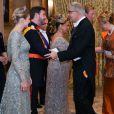 La comtesse Stéphanie de Lannoy, le prince Guillaume de Luxembourg, La Grande-Duchesse Maria Teresa, Mr. Laurent Mosar, président de la Chambre des Députes et son épouse à l'occasion du mariage du prince Guillaume de Luxembourg et la comtesse Stéphanie de Lannoy à Luxembourg, le 19 octobre 2012.