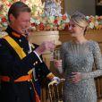 Le grand duc Henri de Luxembourg et la comtesse Stéphanie de Lannoy à l'occasion du mariage du prince Guillaume de Luxembourg et la comtesse Stéphanie de Lannoy à Luxembourg, le 19 octobre 2012.