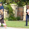 Christian Bale se rend à un anniversaire avec sa femme Sibi Blazic et sa fille Emmeline à Brentwood le 6 octobre 2012