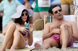 Mad Men - saison 6 : Jon Hamm et la sexy Jessica Paré, tournage à la plage