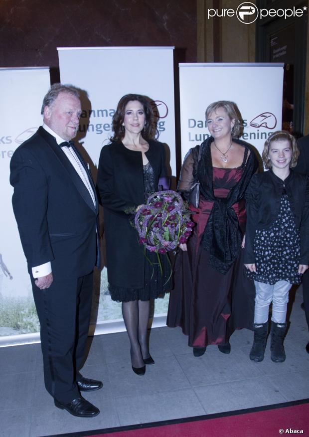 La princesse Mary lors de la soirée de gala célébrant le 20e anniversaire de la première transplantation pulmonaire réussie au Danemark, le 28 octobre 2012 au théâtre royal de Copenhague.