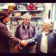 Claude Lelouch et Jean Imbert dans son restaurant L'Acajou dans le 16e arrondissement de Paris