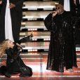 Cee Lo Green et Madonna lors du halftime show de la finale du Super Bowl, à Indianapolis, le 5 février 2012.