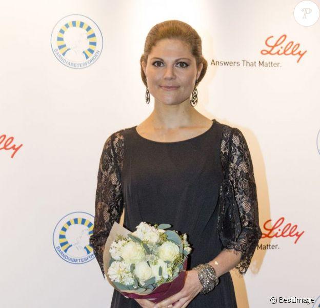 La princesse Victoria de Suède lors du gala caritatif pour la Journée mondiale du diabète, à Stockholm, le 14 novembre 2012.