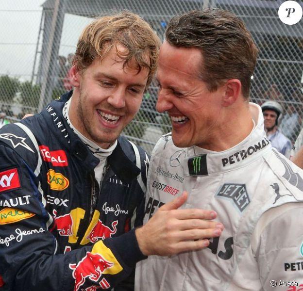Michael Schumacher et Sebastien Vettel à l'issu du Grand Prix du Brésil le 25 novembre 2012 à Interlagos à Sau Paulo
