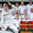 Michael Schumacher a fait ses adieux au monde de la Formule 1 le 25 novembre 2012 lors du Grand Prix du Brésil à Interlagos à Sao Paulo où de nombreux hommages lui ont été rendus