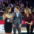 Fernanda Ameeuw, Charlotte Casiraghi et Virginie Couperie-Eiffel radieuses au Gucci Paris Masters le 2 décembre 2012 pour le Grand Prix, remporté par le Néerlandais Mark Houtzager avec Sterrehof's Tamino.