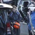 L'infante Elena d'Espagne était aux sports d'hiver à Baqueira Beret avec ses enfants Felipe et Victoria, le 28 décembre 2012.