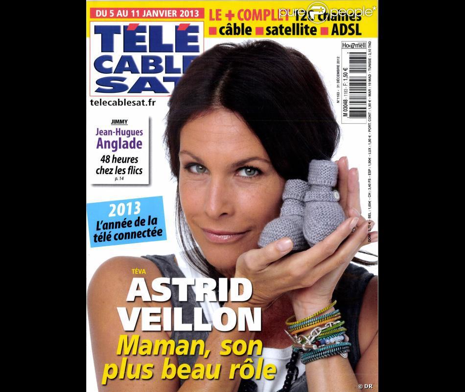 Astrid Veillon en couverture de Télé Cable Sat en kiosques le 31 décembre 2012