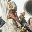 L'ex-footballeur Ruud van Nistelrooy déguisé en Balthazar lors de la Cabalgata de los tres reyes, la traditionnelle parade des rois mages en Espagne, le 5 janvier 2013 à Marbella.