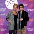 Virginie Efira enceinte et Pierre Niney posent lors de la soirée de clôture du Festival du film de comédie de l'Alpe d'Huez, le 19 janvier 2013.