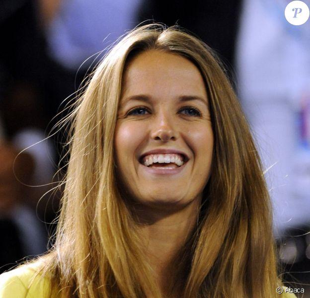 Kim Sears, heureuse après  la victoire de son homme Andy Murray en demi-finale de l'Open d'Australie à Melbourne le 25 janvier 2013 face à Roger Federer