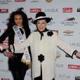 Miss Prestige National 2013 et Geneviève de Fontenay lors du 92e Grand Prix d'Amérique à l'hippodrome de Vincennes à Paris le 27 Janvier 2013.