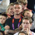 David Beckham, papa poule aux Jeux Olympiques de Londres, le 8 août 2012.