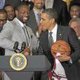 Barack Obama et Dwyane Wade à la Maison Blanche le 28 janvier 2013