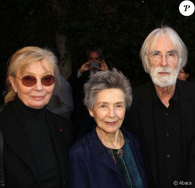 Margaret Menegoz, Emmanuelle Riva, Michael Haneke and Susanne Haneke au Consul General Of France à Beverly Hills, le 25 février 2013.