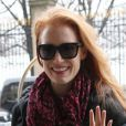 Exclusif - Jessica Chastain, de passage à Paris pour la Fashion Week, arrive à son hôtel. Paris, le 2 mars 2013.