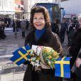 La reine Silvia en visite dans la ville de  Kalmar   , dans le comté de Kalmar, à l'occasion du jubilé du roi, le 5 mars 2013.